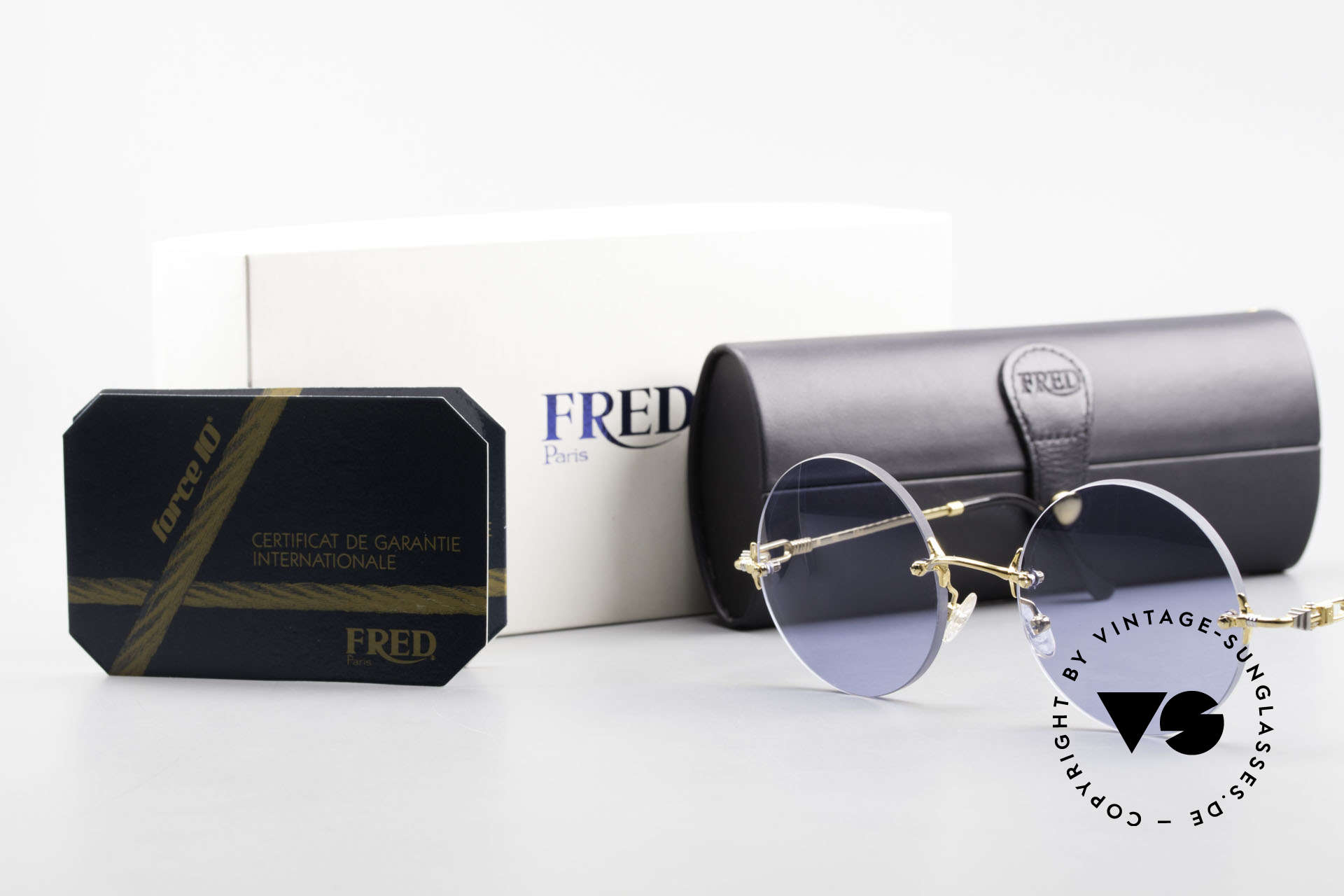 Fred Fidji Rimless Round Luxury Shades, Size: large, Made for Men
