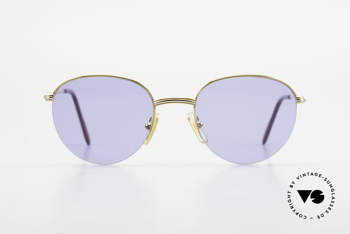 Cartier Colisee Round Luxury Sunglasses 90's, model of the 'Semi-Rimless' Collection by CARTIER, Made for Men and Women