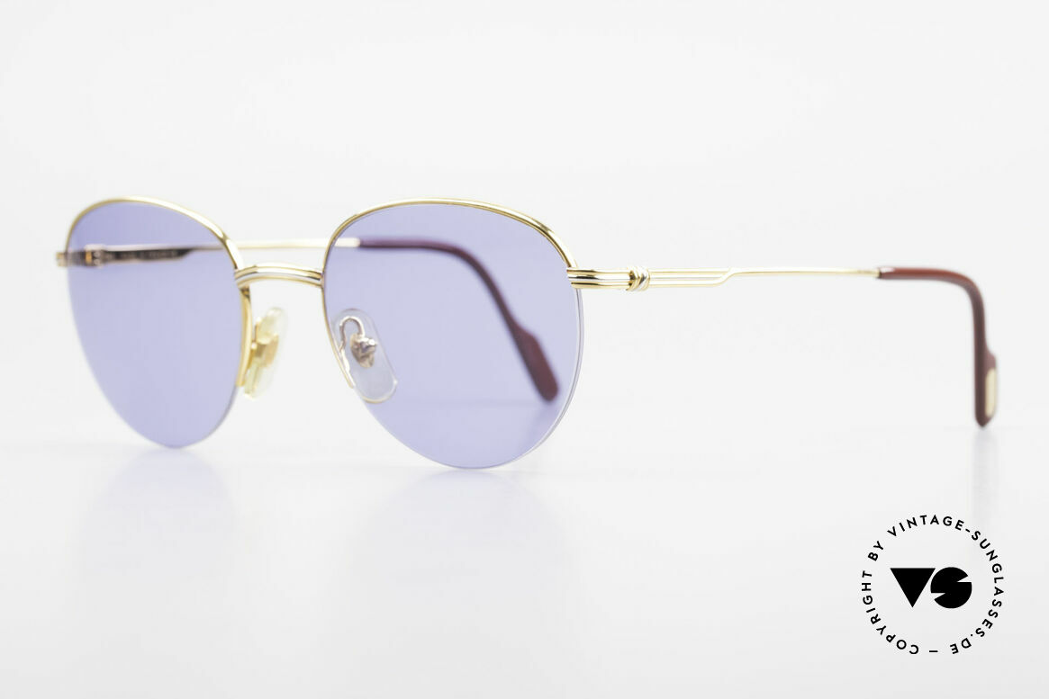 Cartier Colisee Round Luxury Sunglasses 90's, luxury Cartier half-frame, -lightweight and flexible, Made for Men and Women
