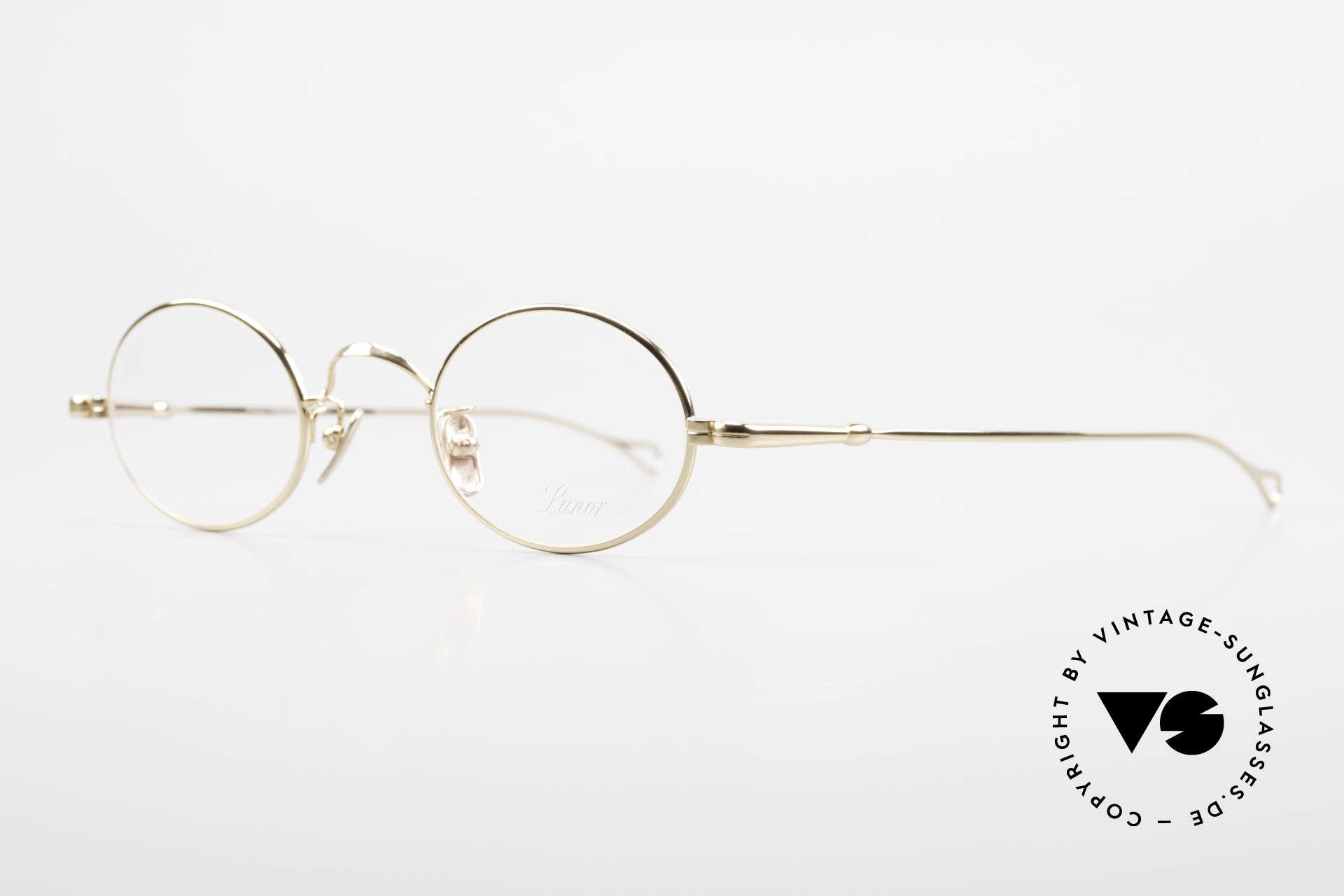 Lunor V 100 Oval Eyeglasses Gold Plated, model V100: timeless oval eyeglass-frame (unisex specs), Made for Men and Women