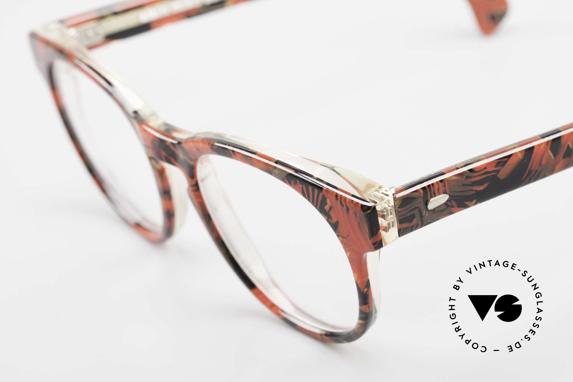 Alain Mikli 903 / 687 Patterned 80's Panto Glasses, handmade quality (red/black marbled), small size, Made for Men and Women