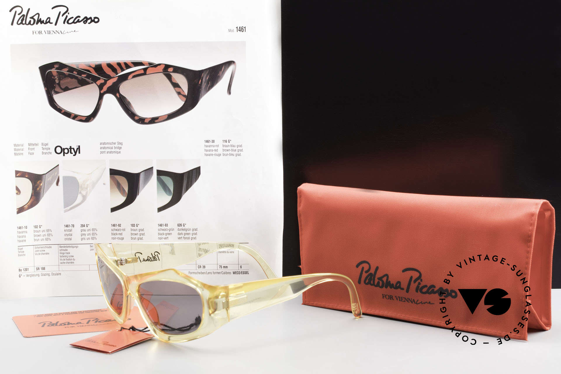 Paloma Picasso 1461 90's Case Can Be Used As Purse, NO RETRO style shades! but a proud original one!, Made for Women
