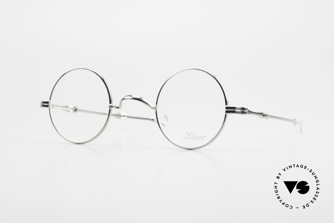 """Lunor I 12 Telescopic Round Glasses Slide Temples, Lunor: shortcut for French """"Lunette d'Or"""" (gold glasses), Made for Men and Women"""