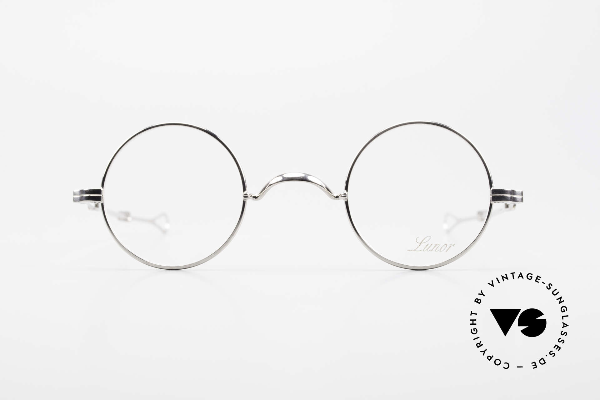 Lunor I 12 Telescopic Round Glasses Slide Temples, traditional German brand; quality handmade in Germany, Made for Men and Women
