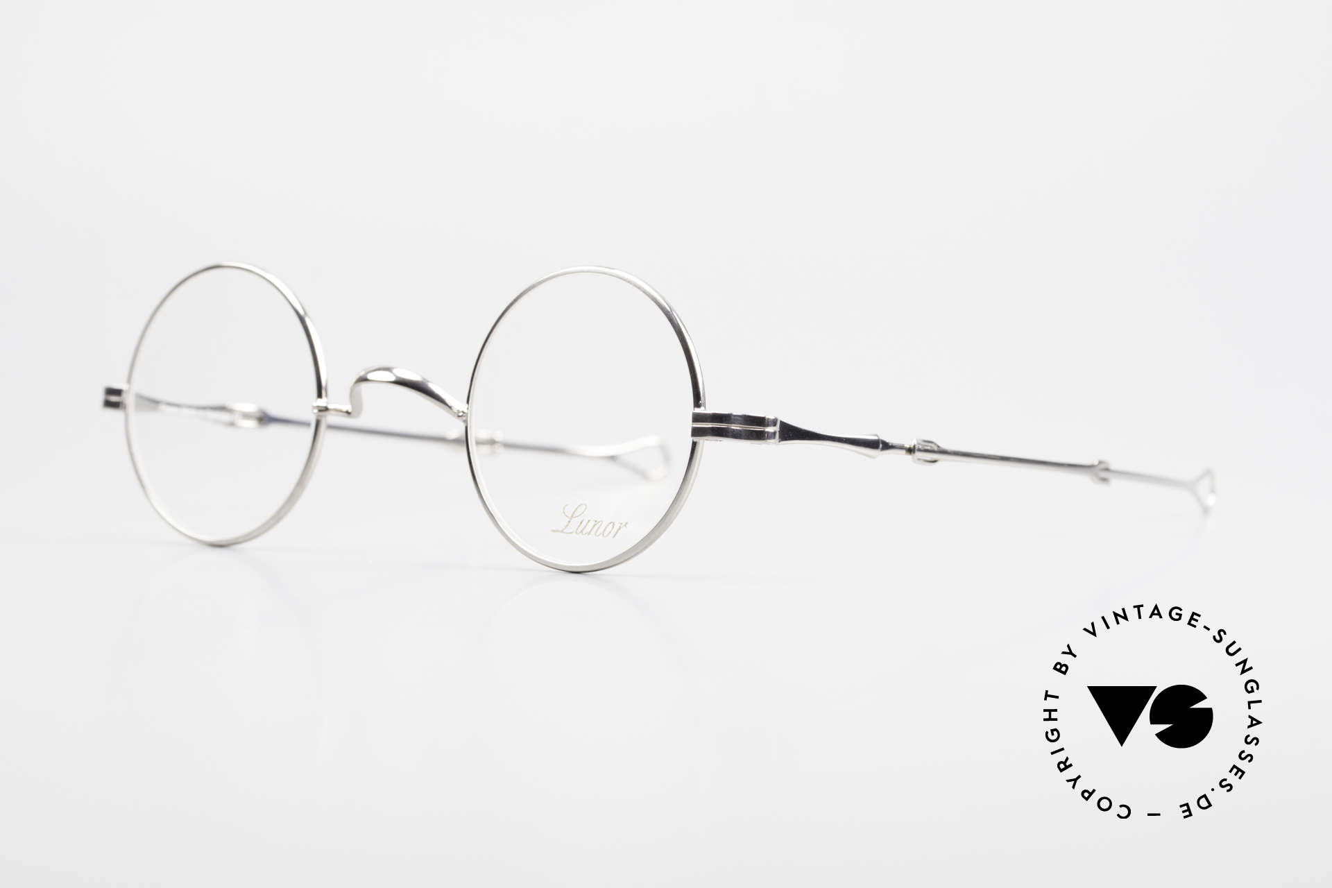 """Lunor I 12 Telescopic Round Glasses Slide Temples, well-known for the """"W-bridge"""" & the plain frame designs, Made for Men and Women"""