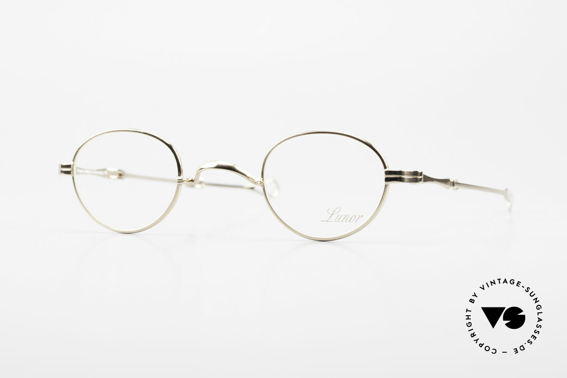 "Lunor I 03 Telescopic Gold Plated With Slide Temples, Lunor: shortcut for French ""Lunette d'Or"" (gold glasses), Made for Men and Women"