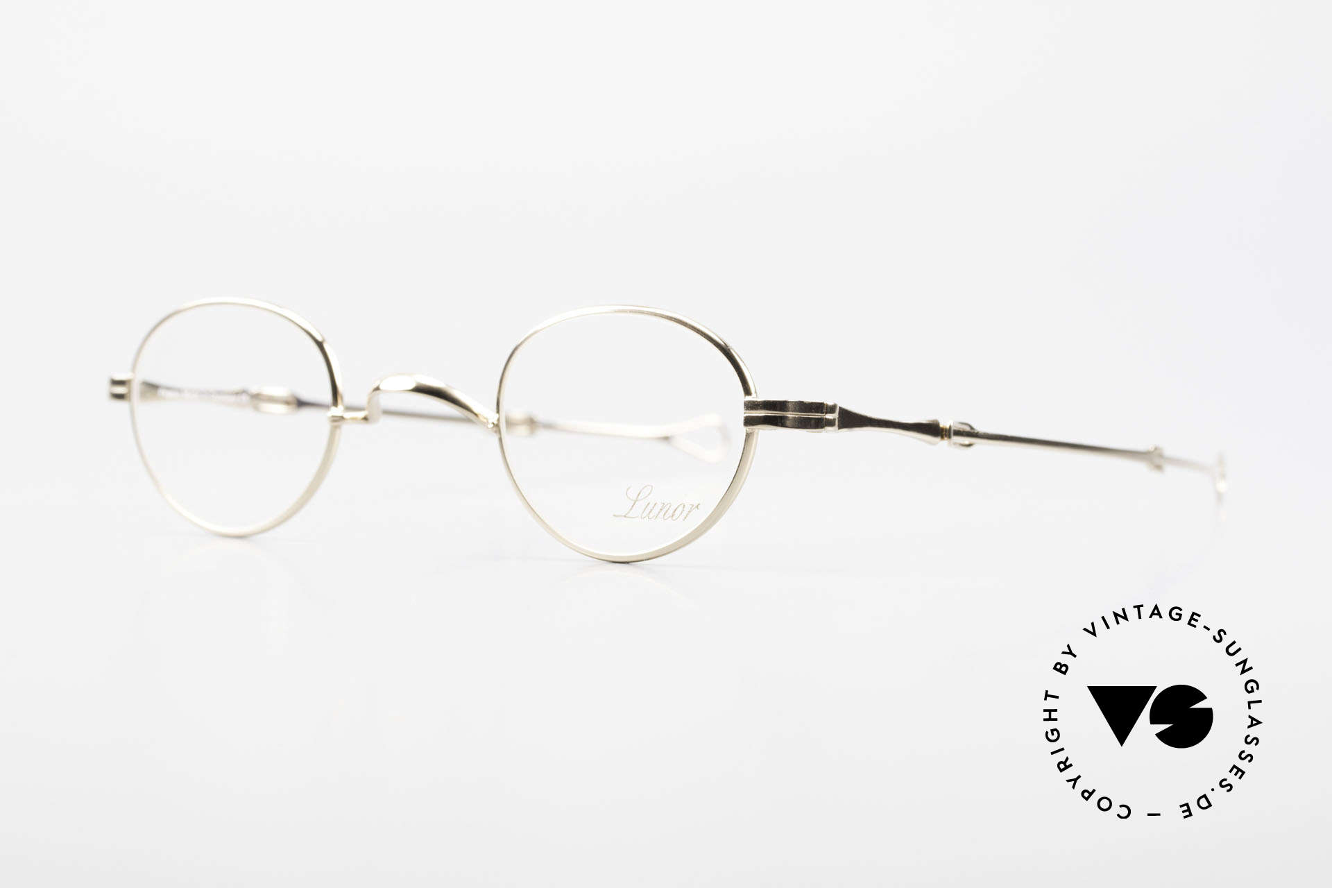 "Lunor I 03 Telescopic Gold Plated With Slide Temples, well-known for the ""W-bridge"" & the plain frame designs, Made for Men and Women"