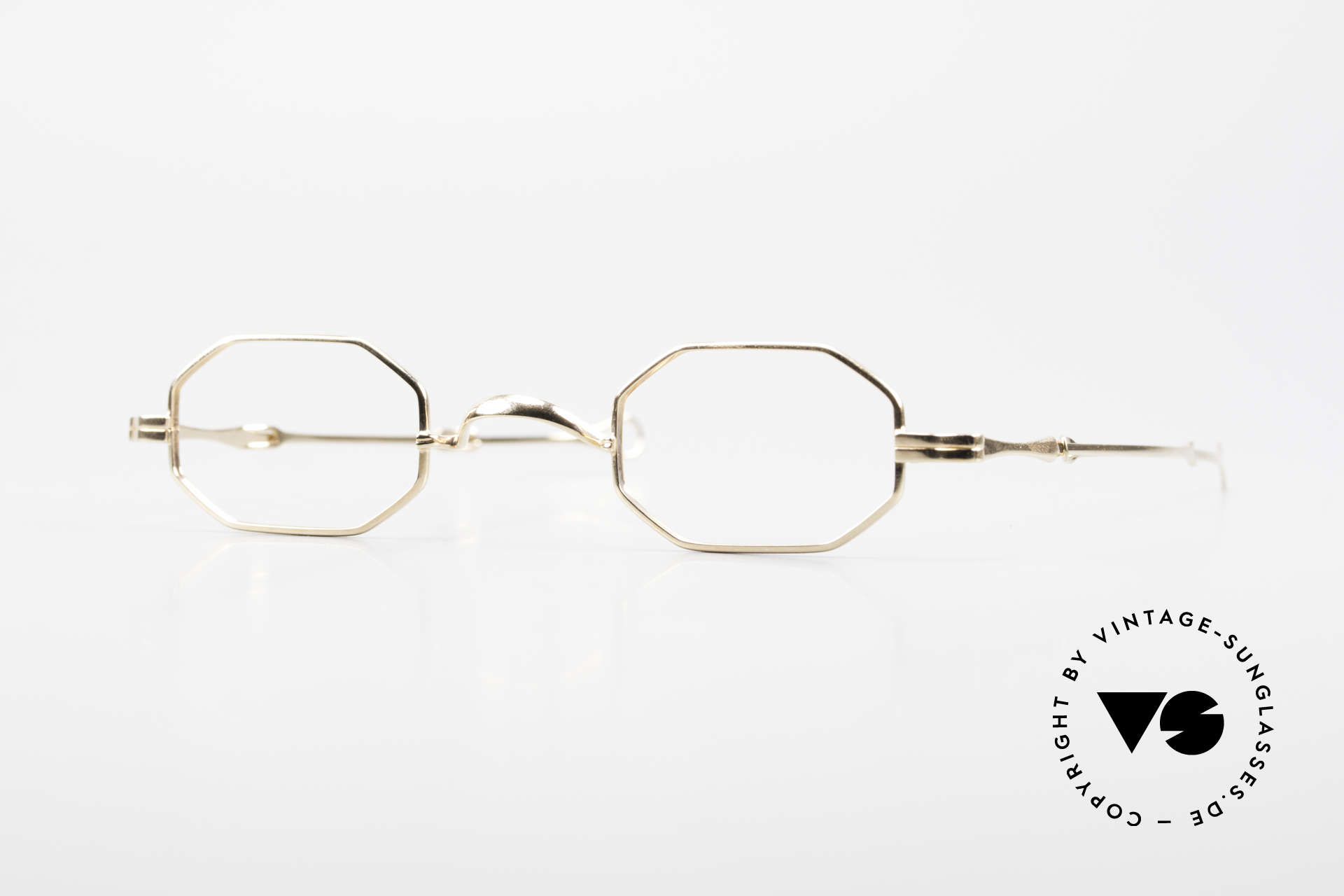 """Lunor I 01 Telescopic Octagonal Frame Gold Plated, Lunor: shortcut for French """"Lunette d'Or"""" (gold glasses), Made for Men and Women"""