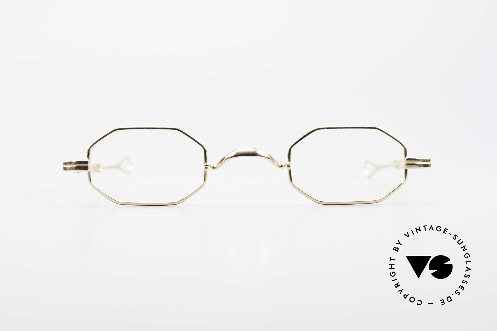 Lunor I 01 Telescopic Octagonal Frame Gold Plated, traditional German brand; quality handmade in Germany, Made for Men and Women