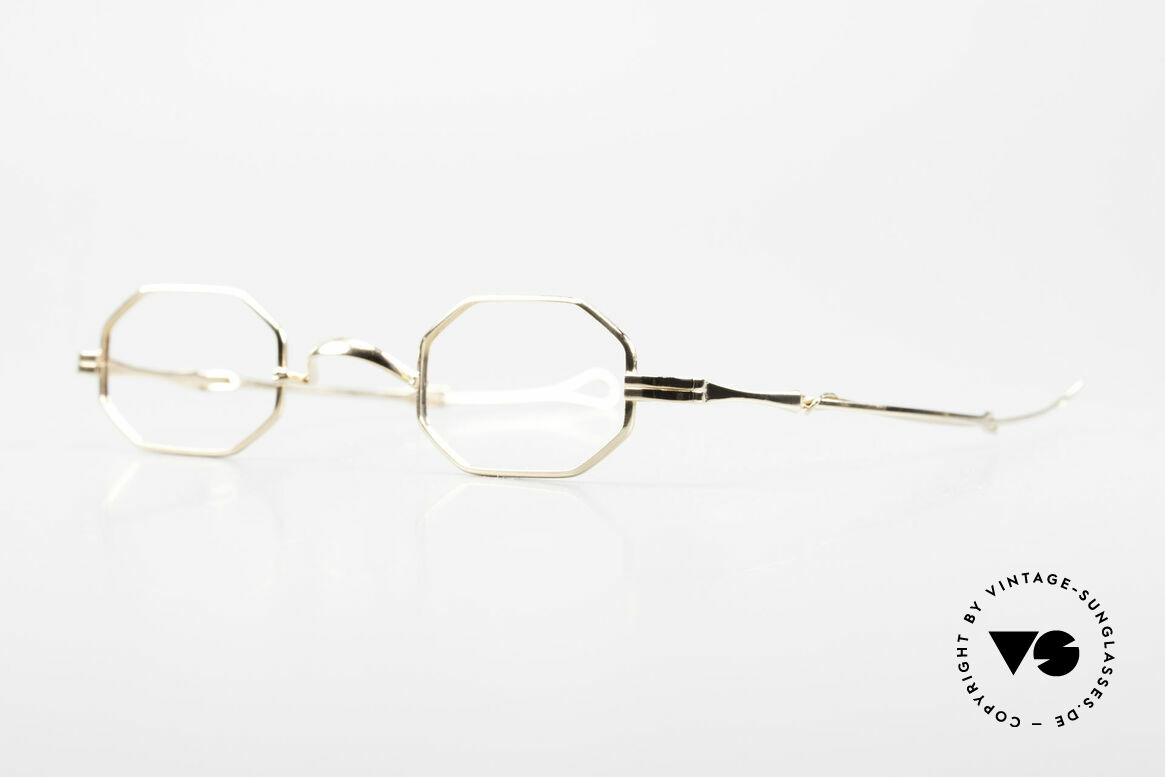 """Lunor I 01 Telescopic Octagonal Frame Gold Plated, well-known for the """"W-bridge"""" & the plain frame designs, Made for Men and Women"""