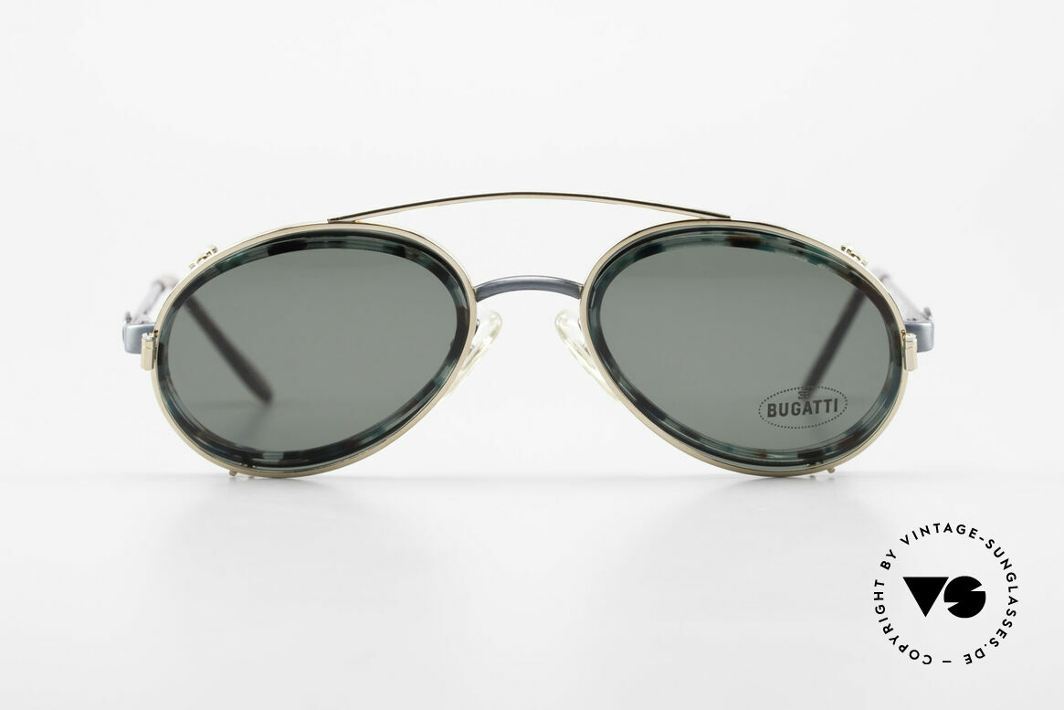 Bugatti 05728T 90's Men's Eyeglasses Sun Clip, unique frame coloring / pattern (check the pictures!), Made for Men