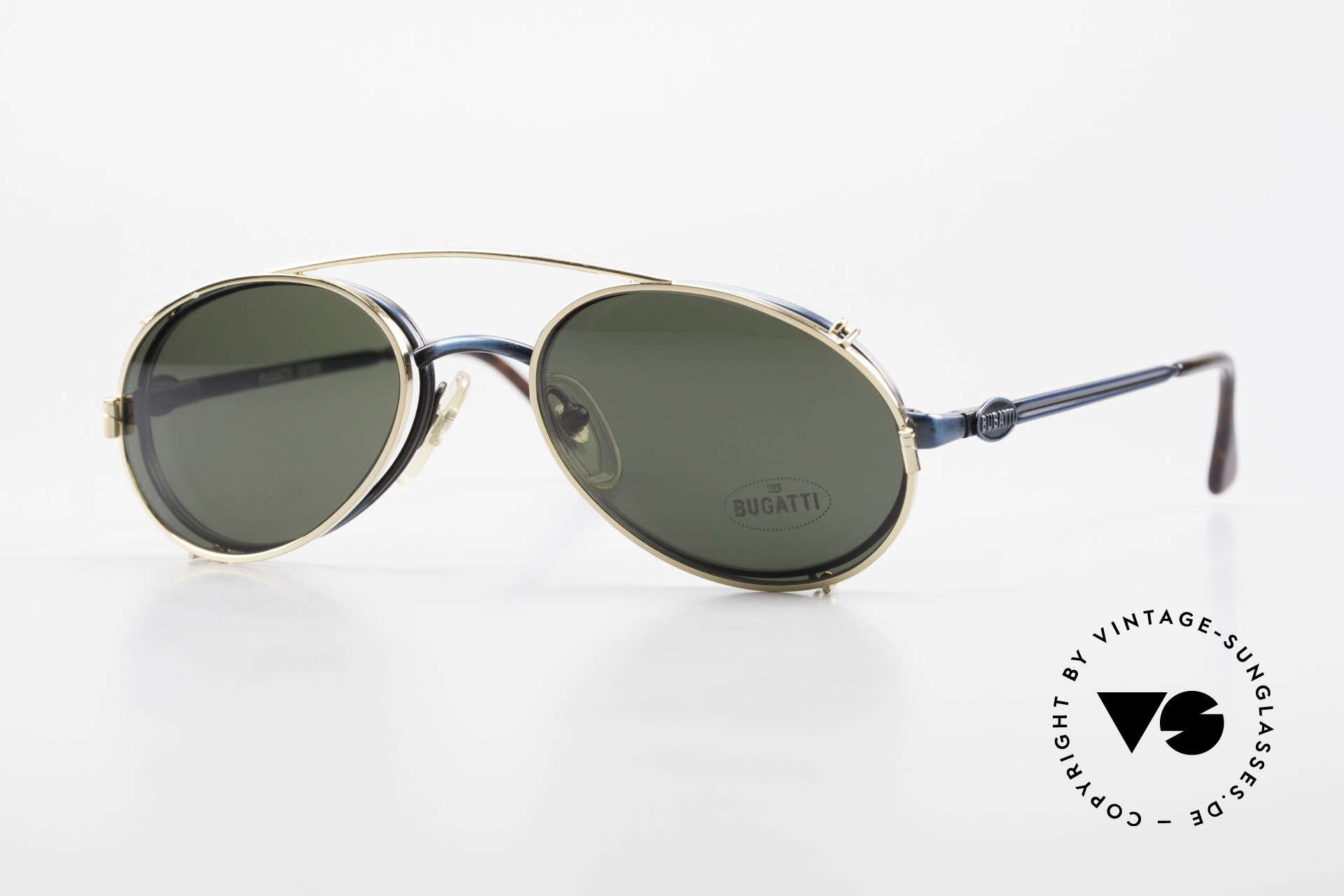 Bugatti 05728 Rare 90's Eyeglasses Clip On, very stylish Bugatti vintage eyeglasses from the 90's, Made for Men