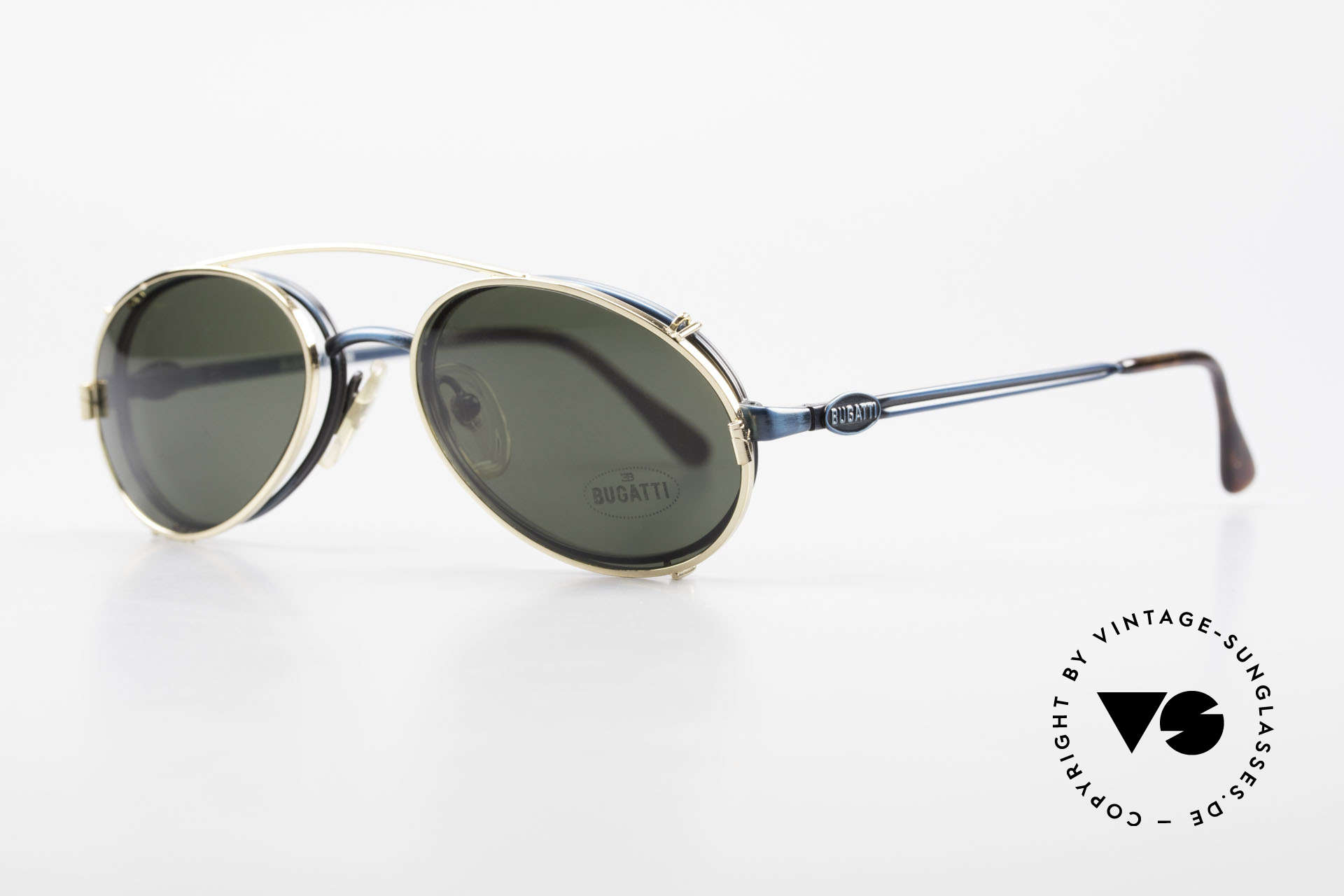 Bugatti 05728 Rare 90's Eyeglasses Clip On, steady metal frame with flexible spring hinges / arms, Made for Men