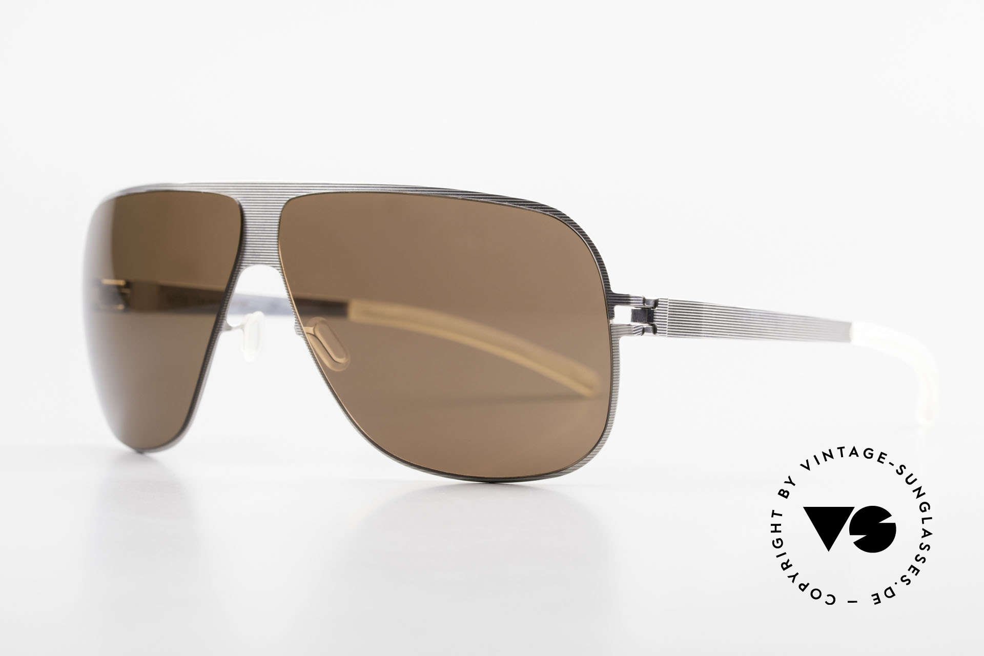 Mykita Hector Aviator Men's Sunglasses 2009's, Collection No.1 Hector Silverline, brown solid, in 65/8, Made for Men