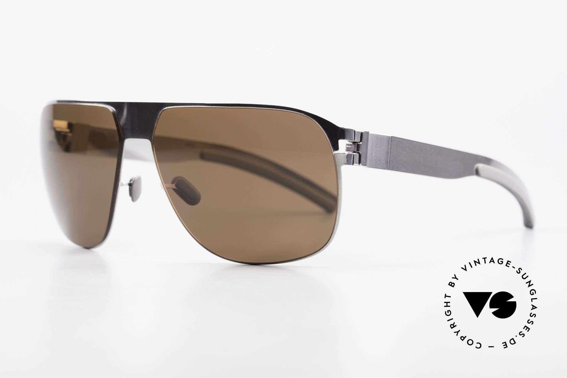 Mykita Tim Vintage Designer Shades 2011's, Model No.1 Sun Tim Shinysilver, brown solid, size 61/14, Made for Men