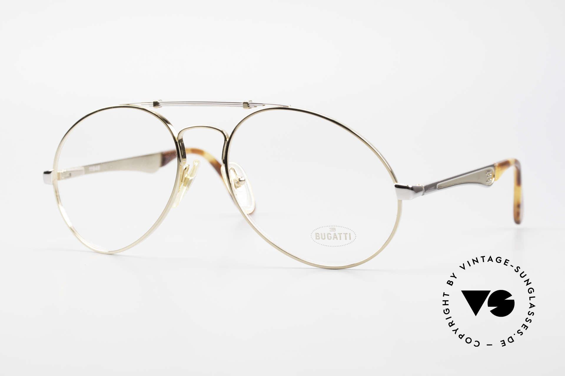 Bugatti 11948 Gold Plated Luxury Frame XL, vintage 80's men's eyeglass-frame in size 58/20, Made for Men