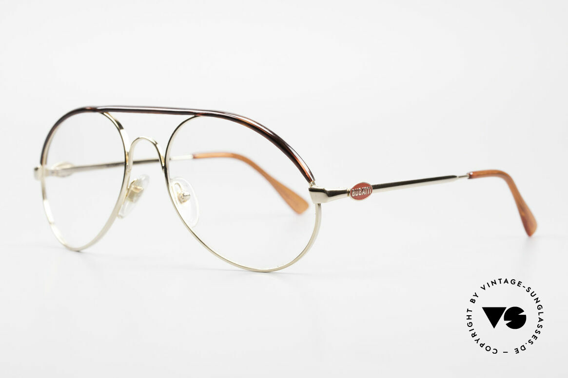 Bugatti 65986 Men's 80's Frame Gold Plated, basic mod. 65986 refined with tortoise appliqué, Made for Men