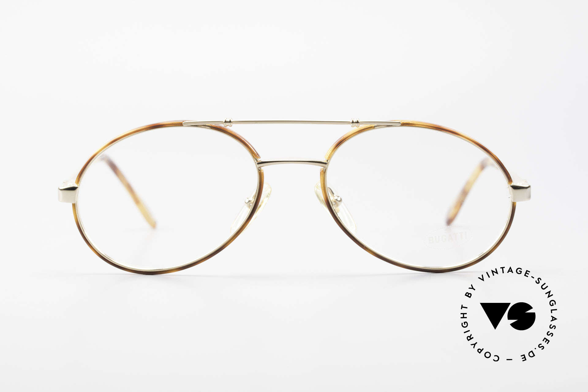 Bugatti 14782 Luxury 80's Eyeglass-Frame, great design; gold-plated and with Windsor rings, Made for Men