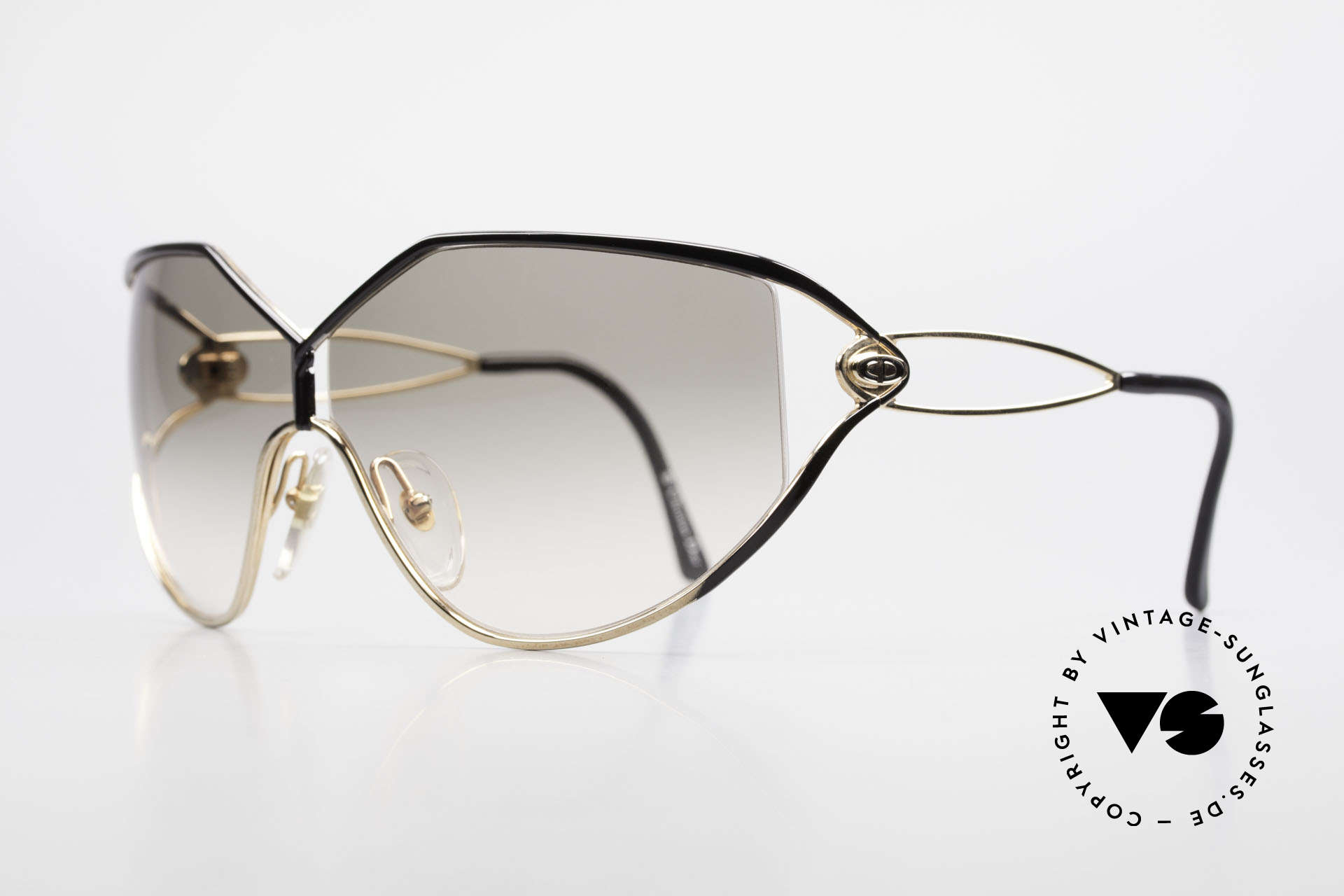 Christian Dior 2345 Designer Sunglasses Ladies, front: gold-plated & black finished (très chic), Made for Women
