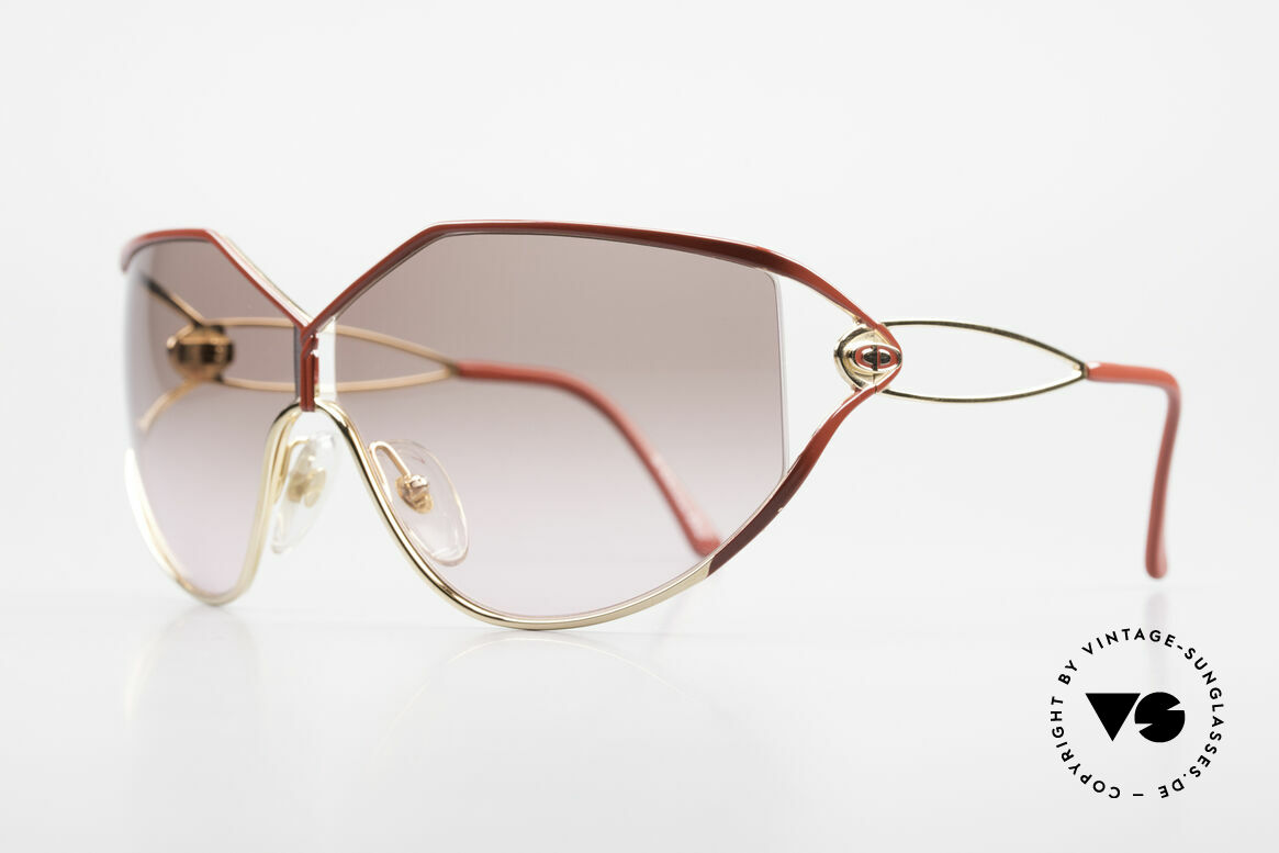 Christian Dior 2345 90s Designer Sunglasses Ladies, front: gold-plated and red finished (très chic), Made for Women