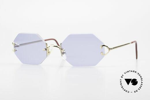 Cartier Rimless Octag Octagonal Sunglasses 1990's Details