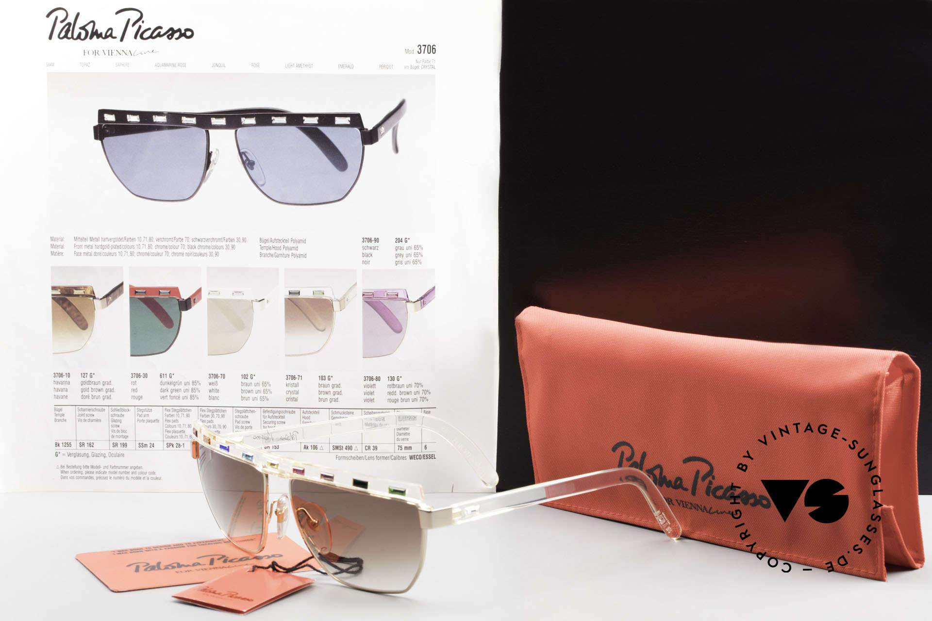 Paloma Picasso 3706 With Colors Of All Gemstones, unworn (like all our rare vintage designer sunnies), Made for Women