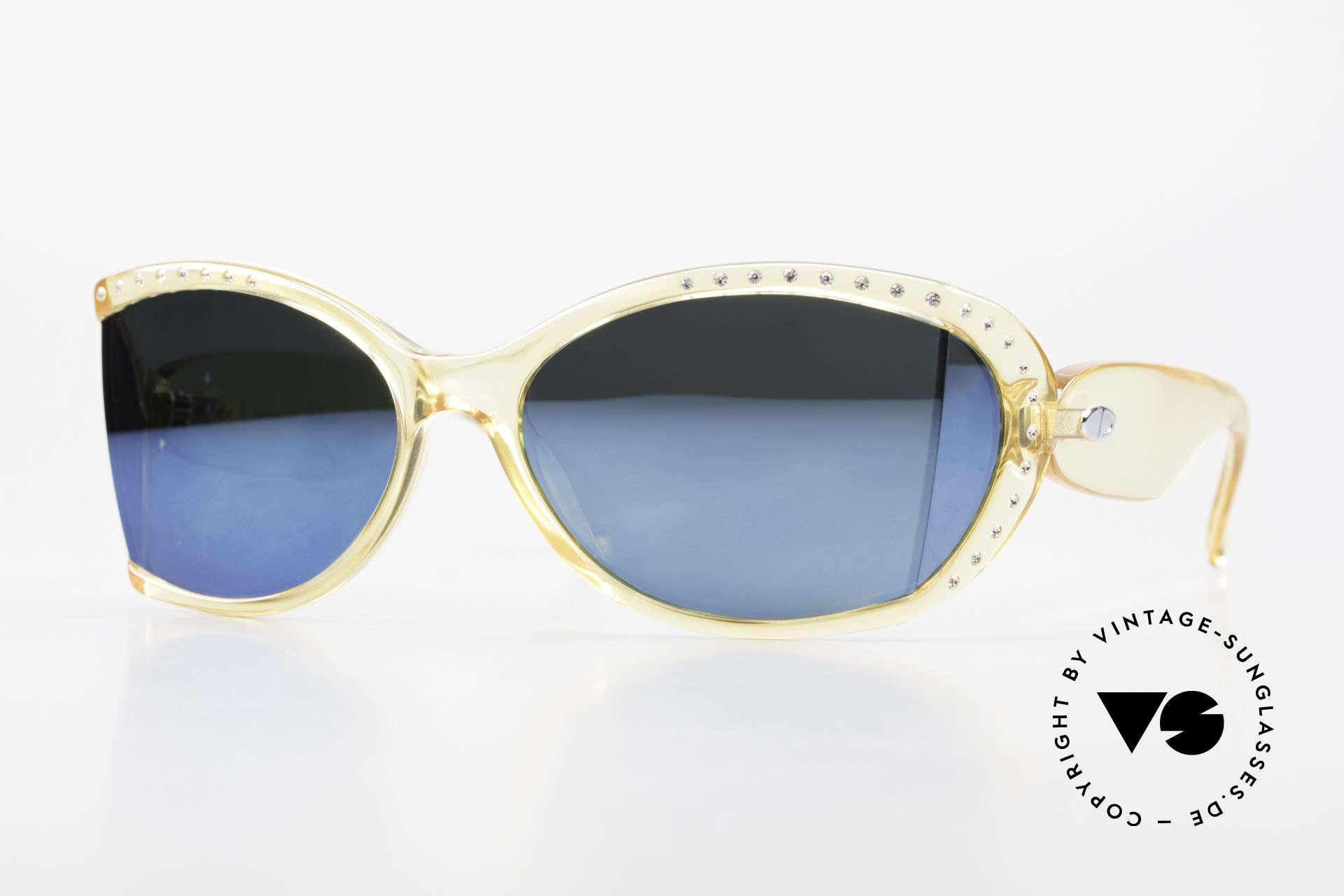 Christian Dior 2439 80's Crystal Sunglasses Gem, futuristic Christian Dior ladies sunglasses from 1989, Made for Women