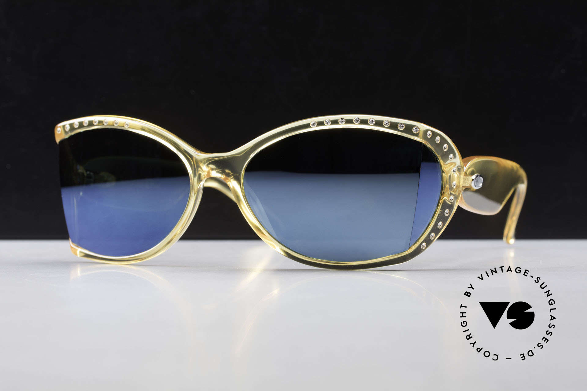 Christian Dior 2439 80's Crystal Sunglasses Gem, sophisticated sunglasses with blue-mirrored lenses, Made for Women