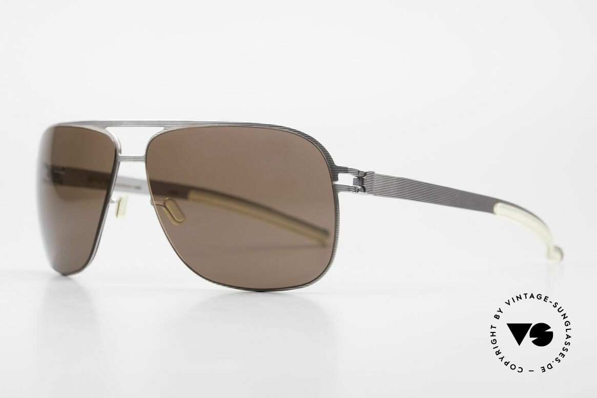 Mykita Luke Rare Designer Shades 2008's, Mod. No.1 Sun Luke Silverline, brown solid, size 63/13, Made for Men