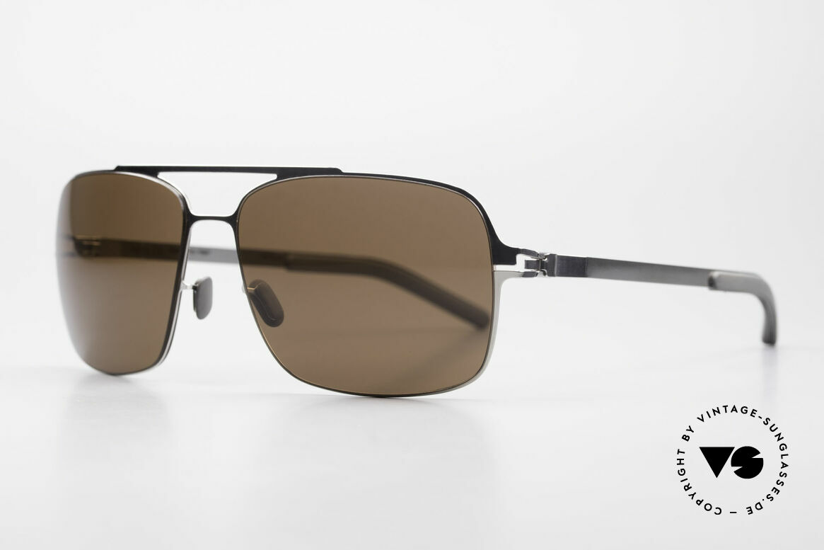 Mykita Troy Collection No 1 Mykita Shades, Collection No.1 TROY Shinysilver, brown-solid, 58/15, Made for Men