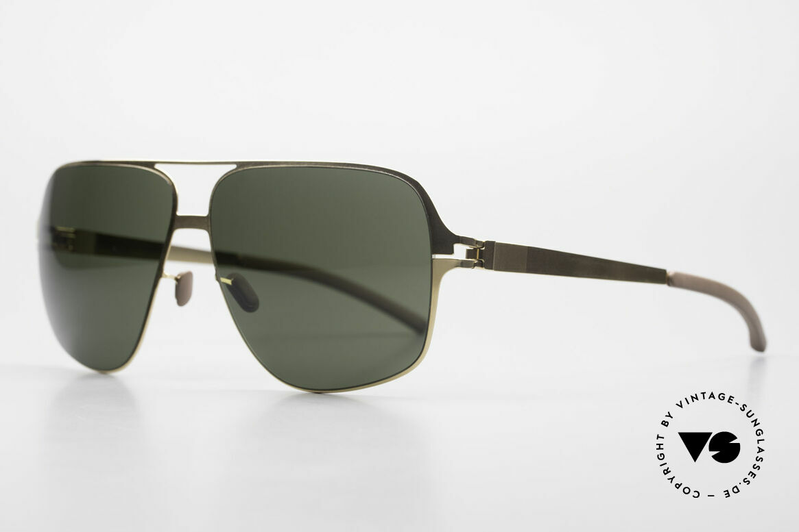 Mykita Cassius Lenny Kravitz XXL Sunglasses, Collection No.1 Cassius Glossygold, green solid, 64/13, Made for Men