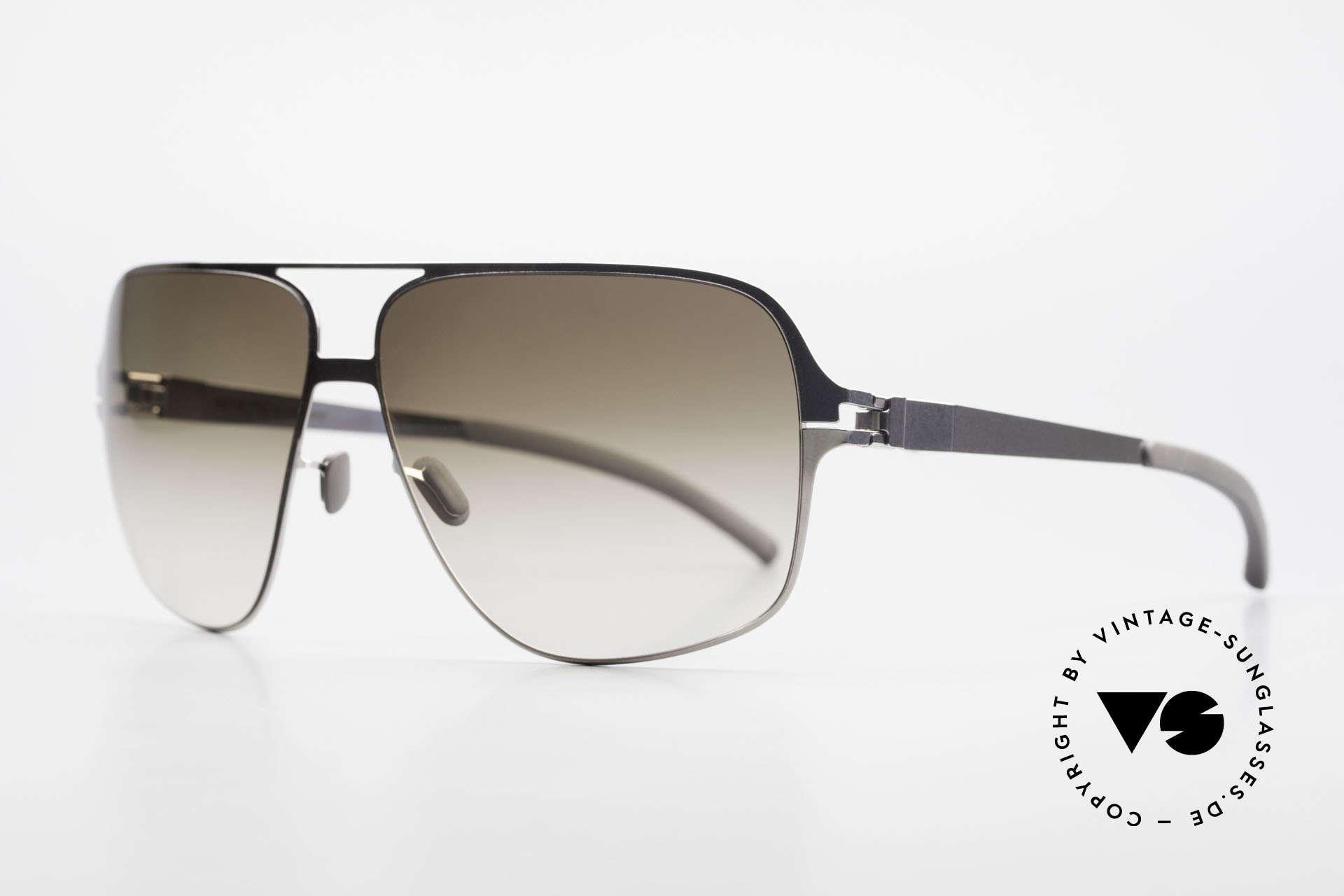 Mykita Cassius Lenny Kravitz Sunglasses XXL, Collect. No.1 Cassius Shinysilver, olive-gradient, 64/13, Made for Men