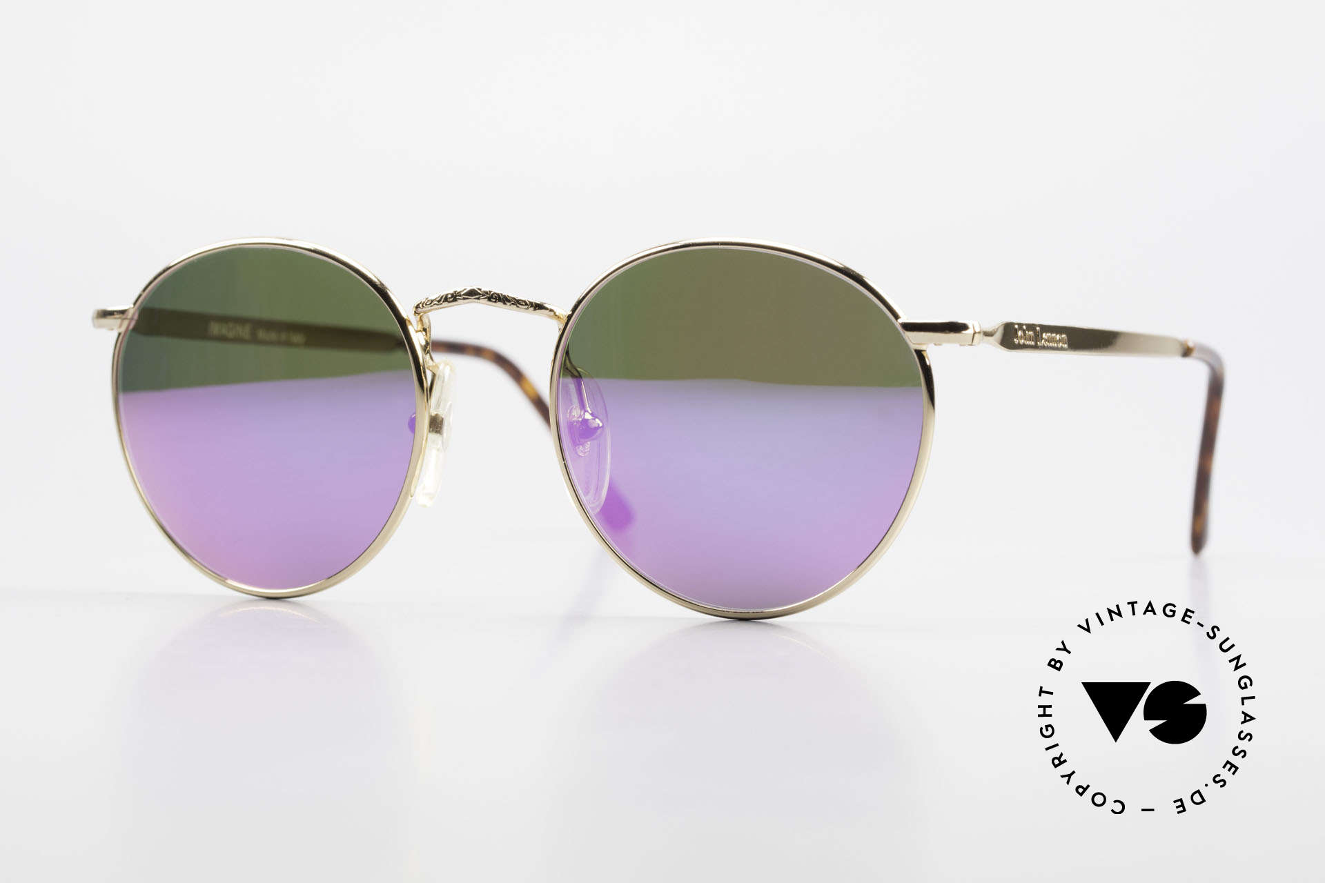 John Lennon - Imagine With Pink Mirrored Sun Lenses, vintage glasses of the original 'John Lennon Collection', Made for Men and Women