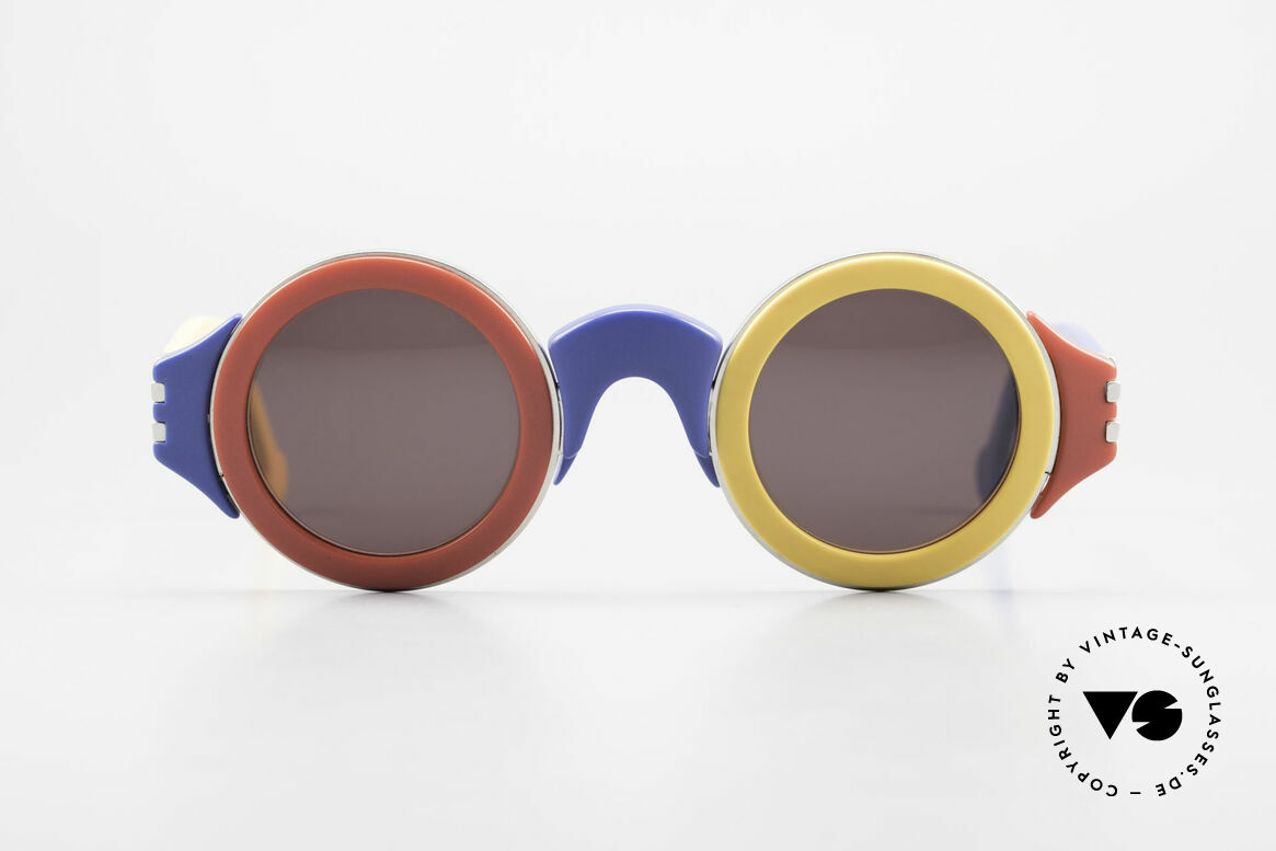 Karl Lagerfeld 3604 Round Multicolored 80s Shades, round multicolored vintage sunglasses by Karl Lagerfeld, Made for Men and Women
