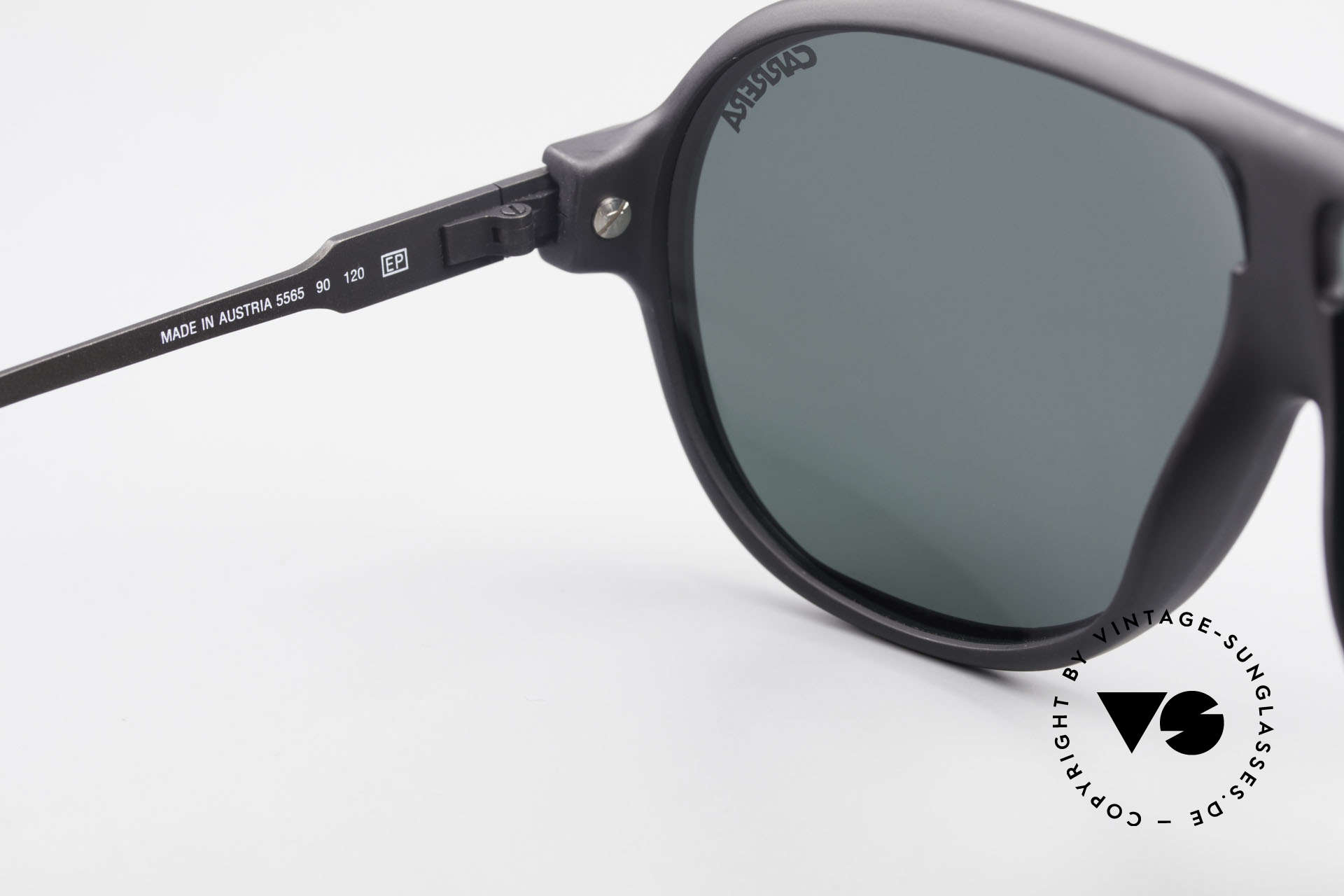 Carrera 5565 Old 1980's Vintage Sunglasses, classic black frame with dark green sun lenses (100% UV), Made for Men and Women