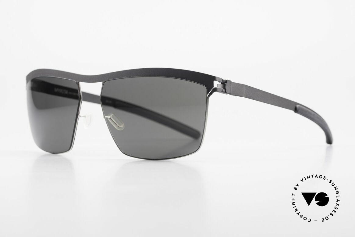 Mykita Tiago Designer Unisex Sunglasses, Collection No.1 TIAGO Silver/Black, black-solid, 60/15, Made for Men and Women