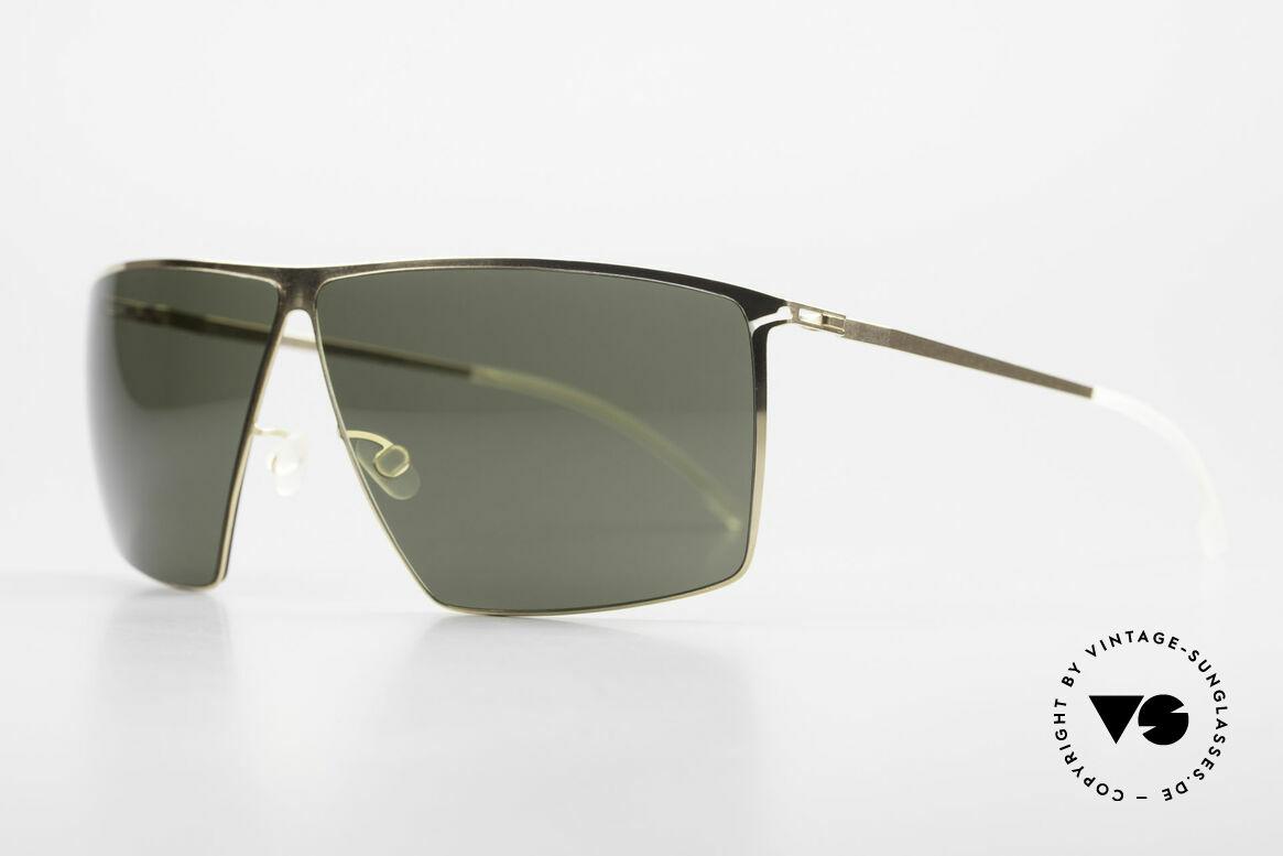 Mykita Amund 2010's Designer Sunglasses Men, Amund Glossygold, green-solid lenses, in LARGE 66/08, Made for Men