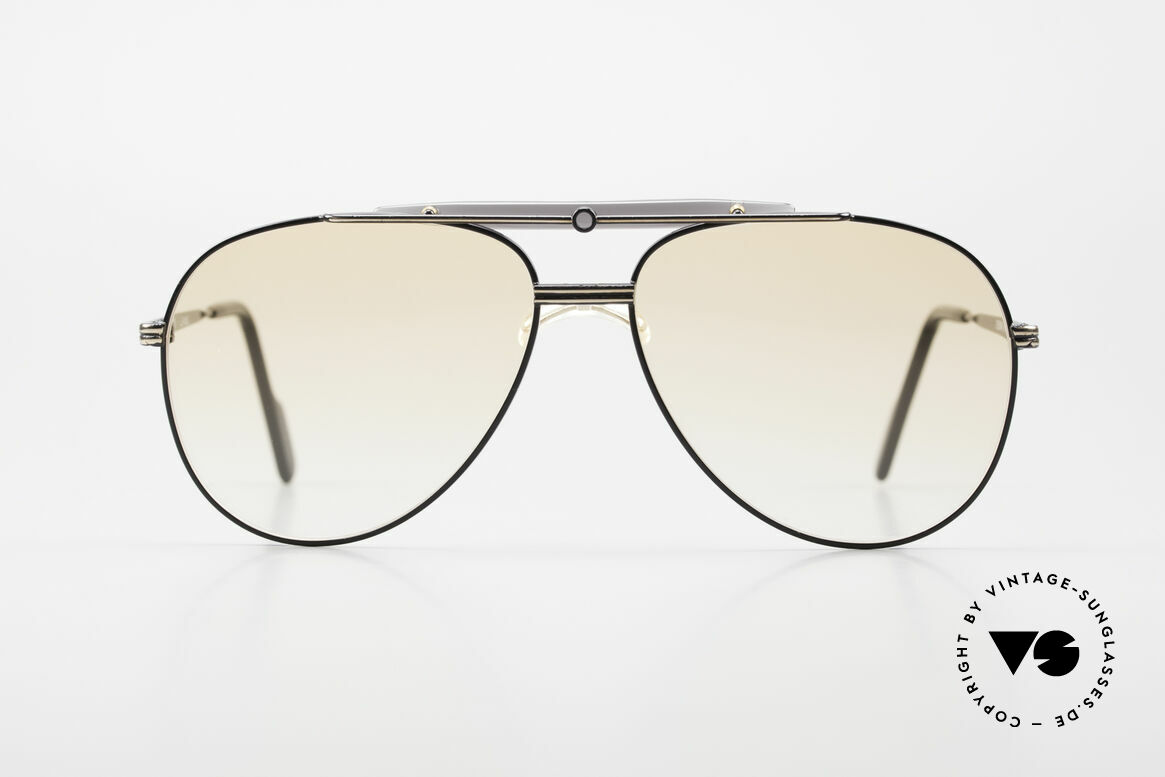 Alpina PCF 250 Sporty 90's Aviator Sunglasses, black-gold aviator frame in large size 58/14, 140, Made for Men