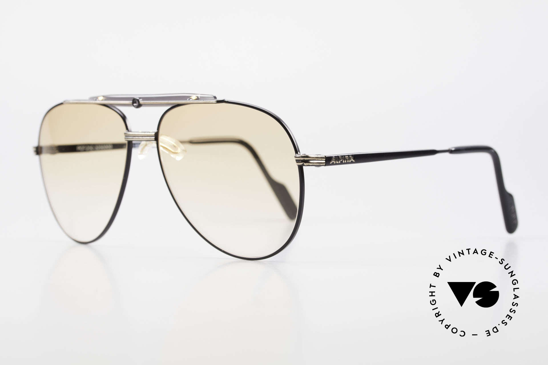 Alpina PCF 250 Sporty 90's Aviator Sunglasses, orange-gradient lenses (also wearable at night), Made for Men