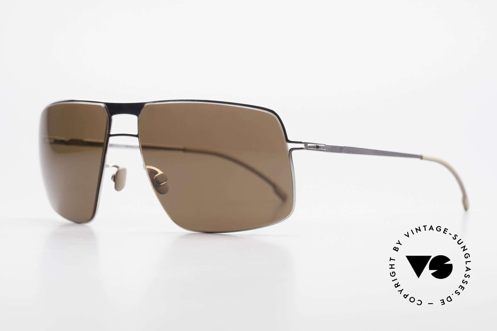 Mykita Leif Men's Designer Sunglasses 2011, Model Lite Sun Leif Shinysilver, brown-solid, in 62/15, Made for Men