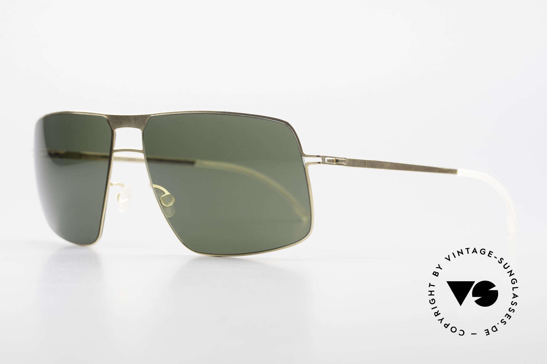 Mykita Leif Designer Shades Zeiss Lenses, Model Lite Sun Leif Glossygold, Zeiss green-solid, 62/15, Made for Men