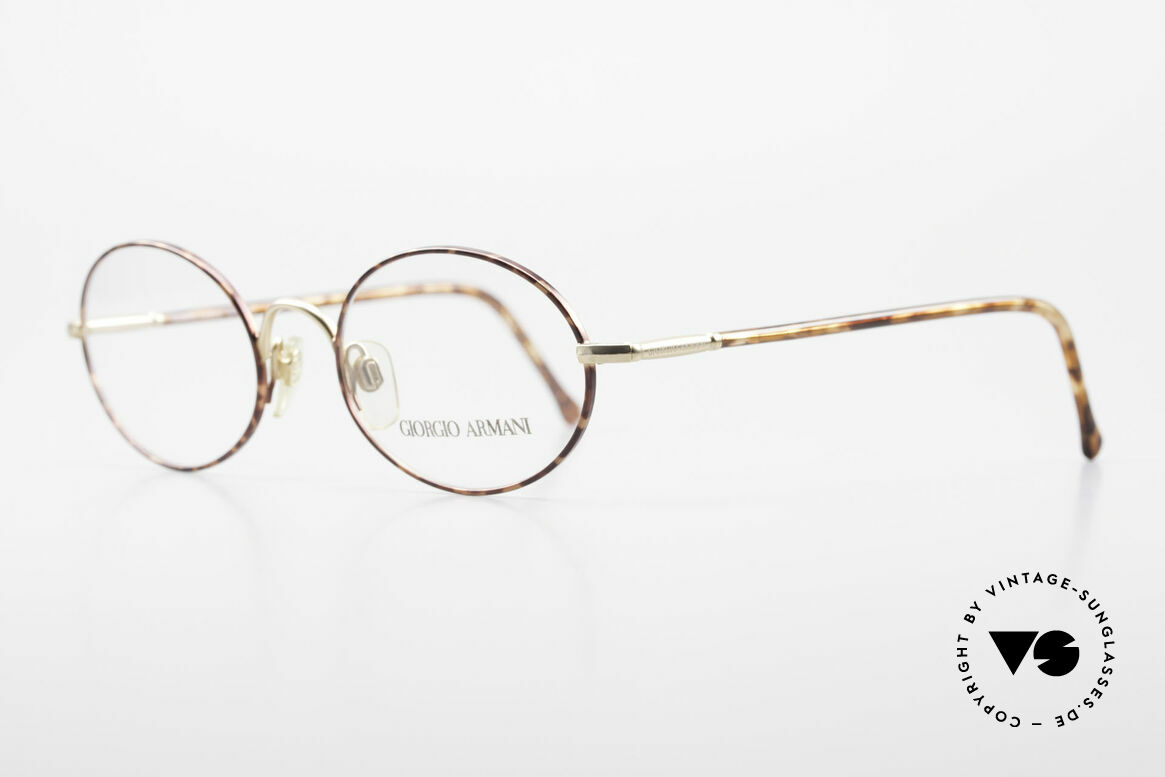 Giorgio Armani 189 Classic Oval Designer Frame, elegant color combination of chestnut brown & gold, Made for Men