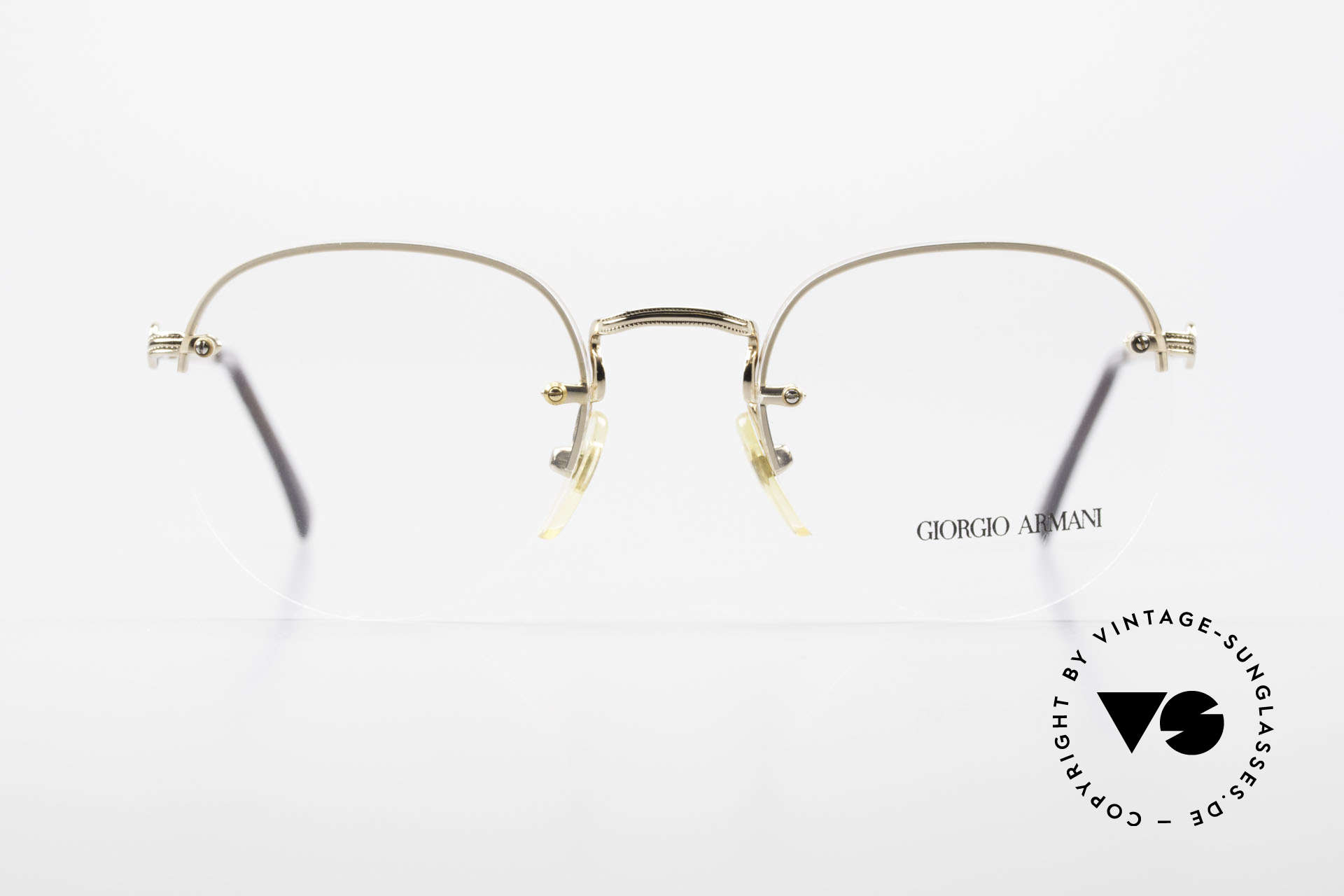 """Giorgio Armani 161 Rimless Vintage Eyeglasses 80s, frame with many tiny engravings & """"tortoise"""" finish, Made for Men and Women"""