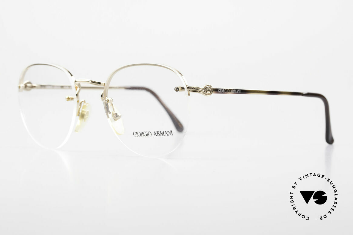 Giorgio Armani 161 Rimless Vintage Eyeglasses 80s, demo lenses are fixed with screws on the metal frame, Made for Men and Women