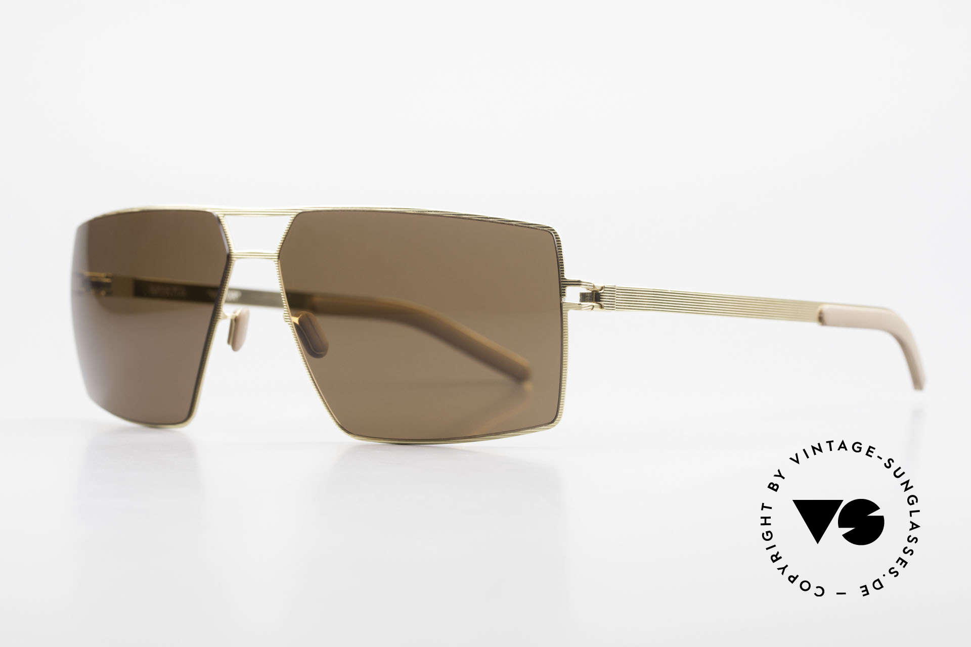 Mykita Viktor Square Designer Sunglasses, VIKTOR Goldline, brown-solid lenses, in LARGE size!, Made for Men