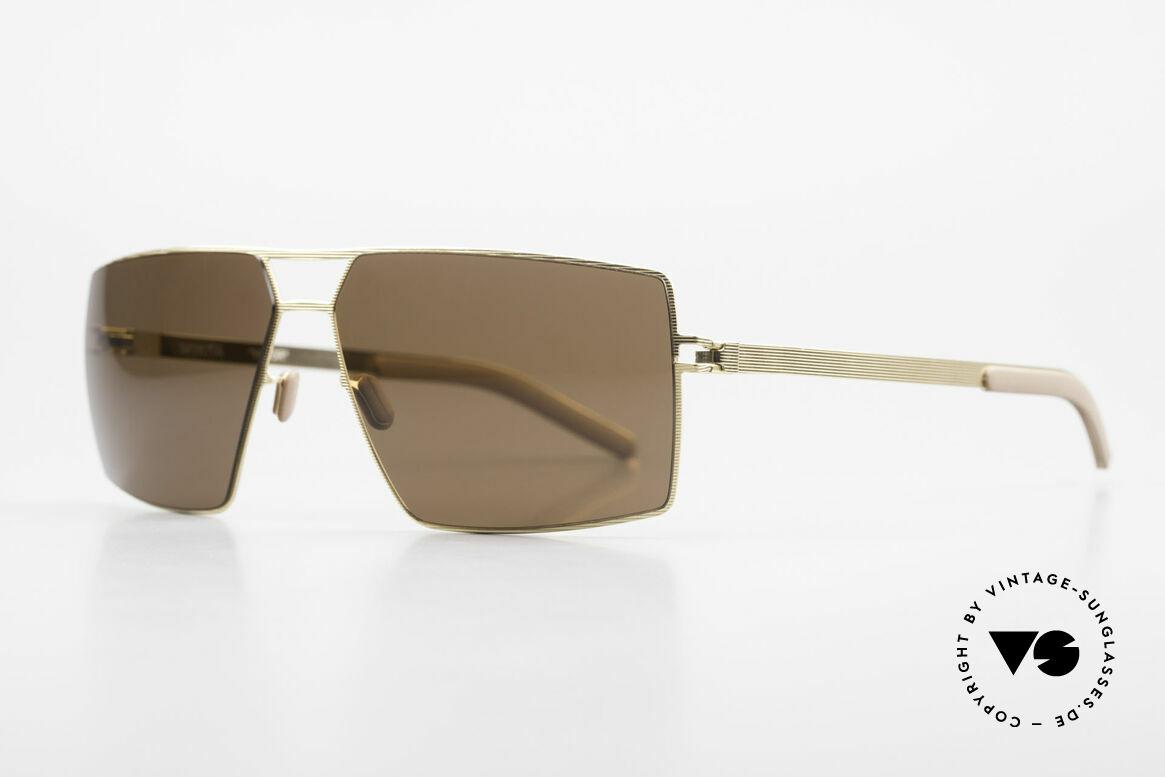 Mykita Viktor Square Designer Sunglasses, VIKTOR Goldline, brown-solid lenses, in LARGE size!, Made for Men