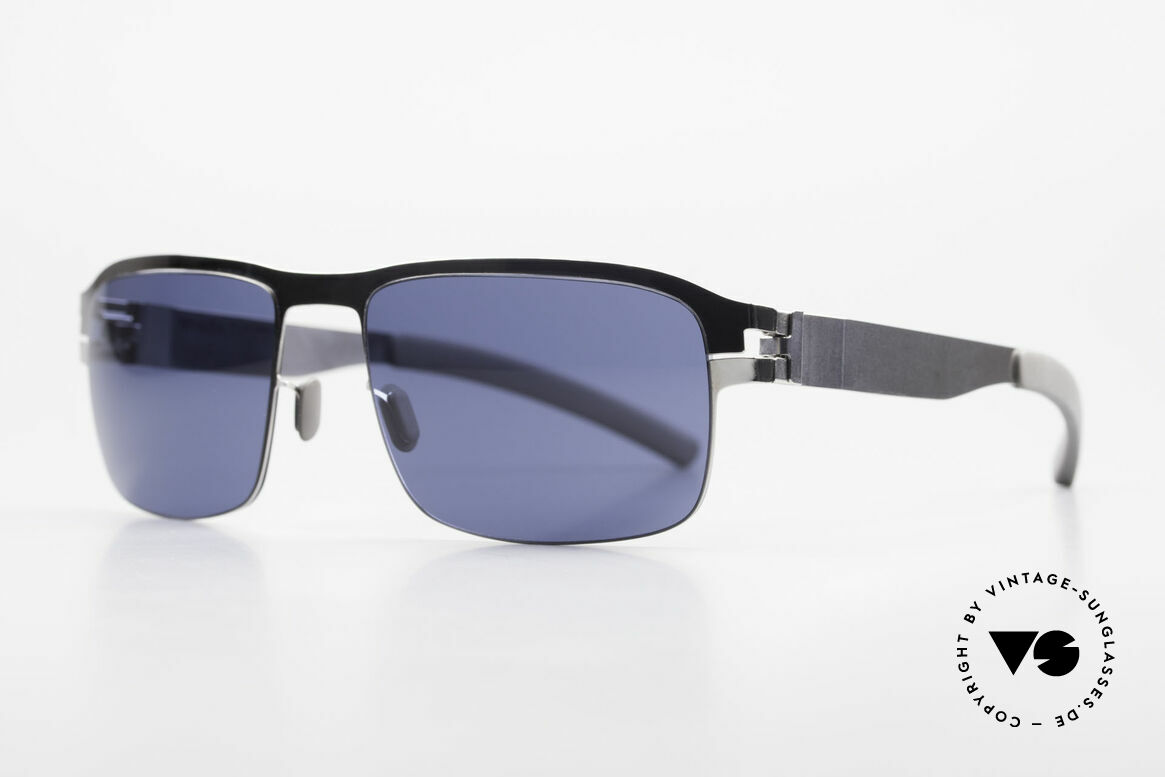 Mykita Lenny Sporty Men's Designer Shades, Collection No.1 LENNY Shinysilver, blue solid, 58/19, Made for Men