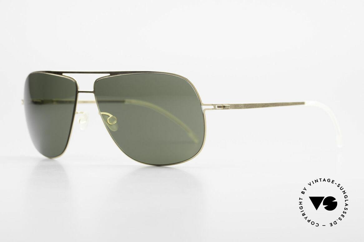 Mykita Jon Designer Lite Metal Sunglasses, Lite Sun Jon Glossygold, green-solid Zeiss lenses, 60/13, Made for Men and Women