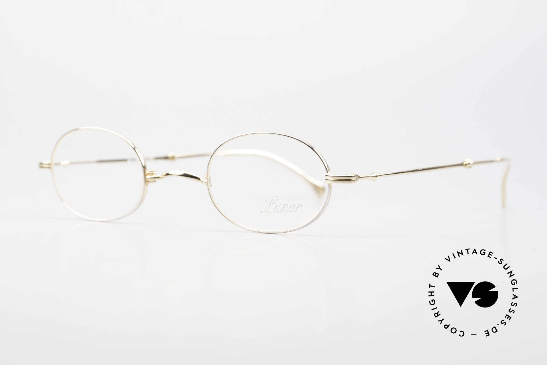 """Lunor XXV Folding 04 Oval Foldable Frame Gold Plated, well-known for the """"W-bridge"""" & the plain frame designs, Made for Men and Women"""