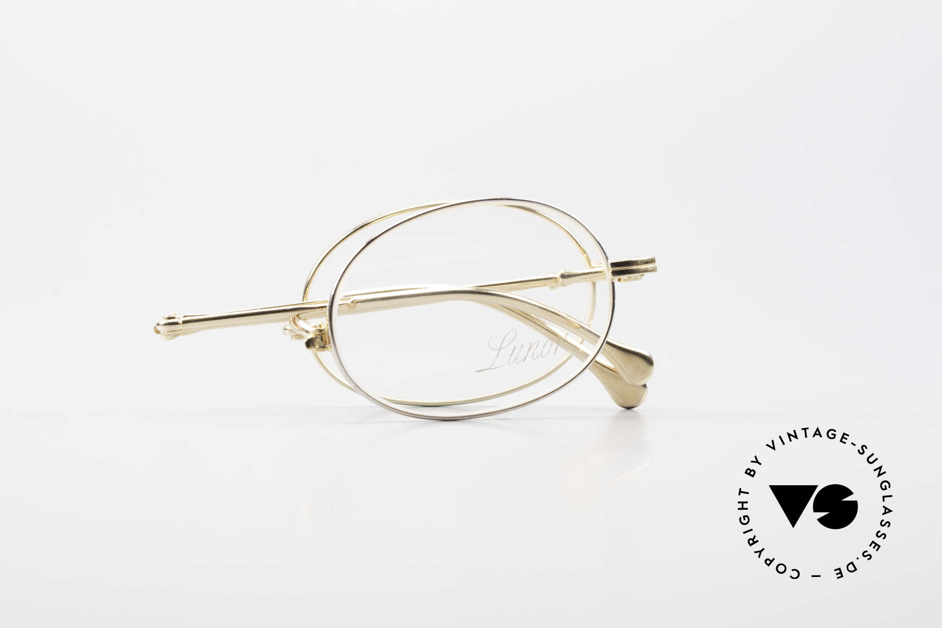 Lunor XXV Folding 04 Oval Foldable Frame Gold Plated, NO RETRO EYEGLASSES, but a precious LUNOR ORIGINAL, Made for Men and Women